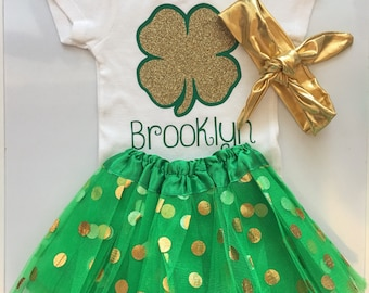 Baby girl St Patricks Day outfit - st patricks day baby girl bodysuit - clover outfit -personalized  st patricks day girl outfit