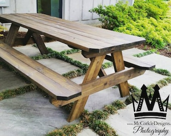 8ft Picnic table with Dark walnut stain finish