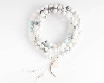 Blue Moon Mala, 108 Gemstone Mala Beads, Howlite Moonstone Mala Necklace, Japa Mala Prayer Beads, Yoga Jewelry