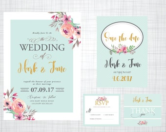 Wedding Invitations Printable Mint Gold Floral PDF