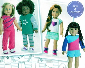 Simplicity 8042 Sewing Pattern, American Girl, 18 inch Doll Clothes, Sew Four Outfits, Hoodies, Tops, Leggings, Pants, Shorts, Skort, Bag