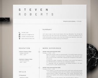 Modern Resume Template | CV Template + Cover Letter + Reference Letter for Word | Instant Digital Download | Mac or Pc 2 page Minimal Resume