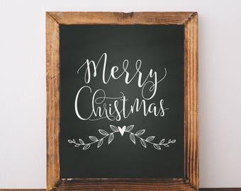 Digital Download Merry Christmas Printable 5x7 and 8x10