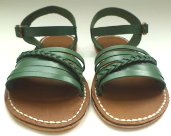 Children Green Leather Sandals,Girls Sandals, Summer Sandals