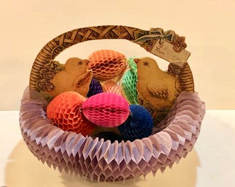 Vintage Beistle Chicks, Honeycomb Fold Out, Easter Greetings Basket, Pop Up Eggs,  Easter Centerpiece Beistle Tissue Eggs, Circa 1920s