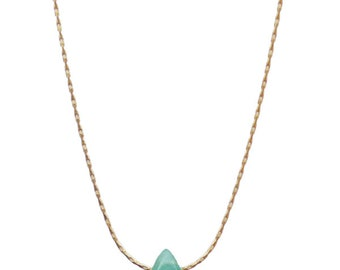 Mini green jade necklace gold or silver plated