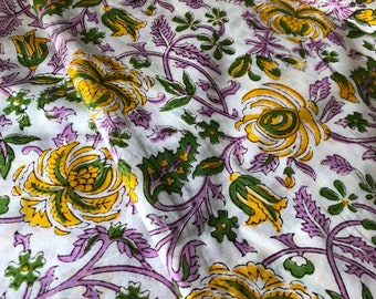 Block Print Fabric, Indian Fabric, Indian Cotton, Lavender and Yellow print, Fabric By the Yard, Iight weight ,all over floral print fabric
