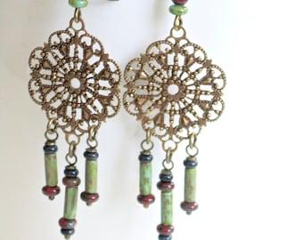 Boho Earrings - Filigree Earrings, Brass Earrings, Czech Glass Earrings, Turquoise Earrings, Long Earrings, Lightweight Earrings