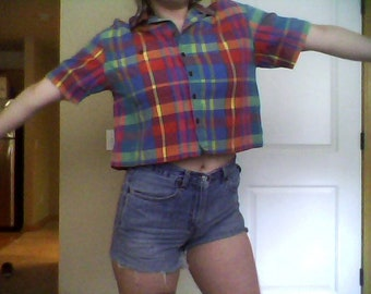 Cute as Heck 90s Plaid Button Up Crop Top MD
