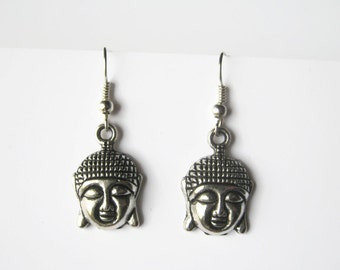 Buddha Earrings, Antiqued SILVER Buddhist Earrings, Personalized Birthstone Earrings, Yoga Earrings, Namaste Jewelry, Buddhism Jewelry