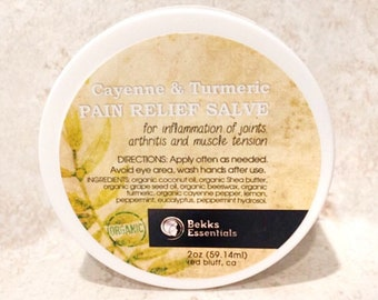 Pain Massage Salve with Turmeric & Cayenne. Increase circulation, calm inflammation, decrease tight back, neck, muscles, joints, arthritis