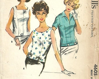 McCalls 4605 / Vintage 50s Sewing Pattern / Blouse Overblouse Shirt Top / Size 14 Bust 34