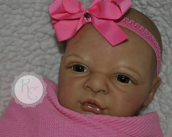 Reborn Baby Girl Frankie Doll  **Complete and Ready to Ship** Bi-Racial or Hispanic Cuddle Baby female baby Awake doll  ON SALE CLEARANCE
