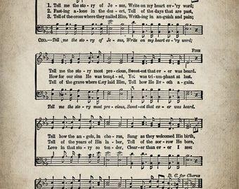 Tell Me The Story of Jesus Hymn Print - Sheet Music Art - Hymn Art - Hymnal Sheet - Home Decor - Music Sheet - Print - #HYMN-P-035