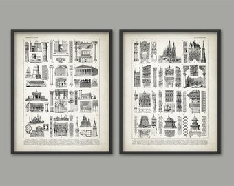 Architect Prints Set of 2 - Architecture Posters - Building Design - Gothic - Corinthian - Ionic - Doric - Architecture Student Gift Idea