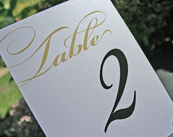 Wedding Table Numbers - white or champagne shimmer