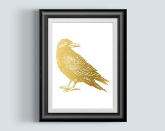 Crow Art, Halloween Decor, Edger Allen Poe, Nevermore, Gold Foil Print, The Raven