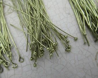 Pièces de 135 quantité vieillis or tetes assortiment - bal fin, extrémité plate & Eye Pins 22 calibre 2 pouces 50mm-