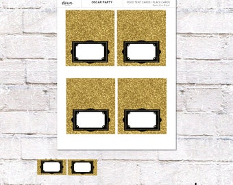 Oscar Party Food Tent Cards. Oscar Place Cards or Food Labels. Oscar Party Supplies. *INSTANT DOWNLOAD*
