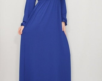 SALE Blue maxi dress Maternity dress Boho dress Plus size dress Long dress Long sleeve dress Empire waist dress Royal blue dress cobalt blue