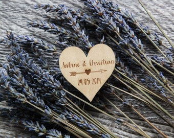 50 Customized Engraved Wooden Heart & Arrow Magnets Wedding Favors