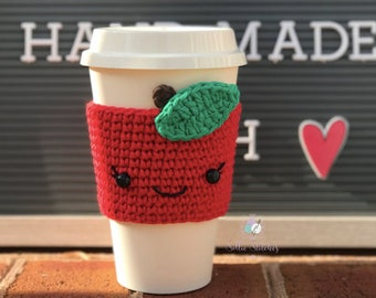 Apple Cup Cozy, Apple Crochet Cup Sleeve