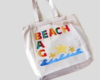 Tote Beach Bag, Beach Applique Design, Monogram Letters, Star Fish, Ocean Waves, Rainbow Colors, Natural Canvas Tote Gift for Women or Girls