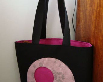Tote bag, large tote bag, beautiful black and pink, cotton canvas bag for any cabaz store