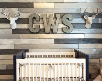 Metallic Wood Plank Wall | Accent Wall | Feature Wall | Nursery Decor | Nursery Art | Boys Bedroom | Girls Bedroom | Shiplap