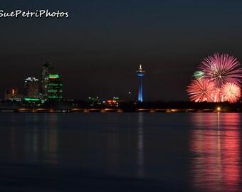 Niagara Falls Skyline Fireworks, Landscape Photography, Photo Prints of Niagara Falls, Photos of Fireworks, Night Photography, Skyline Photo