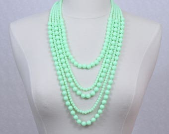 SALE Neon Green Multi Strand Beads Necklace Statement Necklace Multi Layered Necklace Beaded Necklace