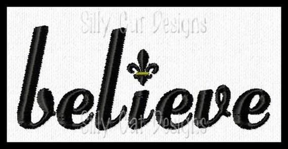 Fleur De Lis Believe Embroidery Design
