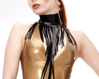 Long Fringe Latex Collar