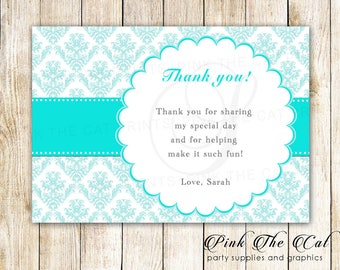 Teal White Thank You Card - Turquoise Damask Thank You Note - Birthday Thank You Card - Baby Shower Thank You Note - Printable Greeting Card