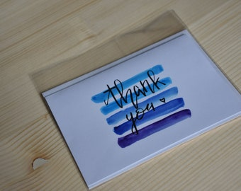 Thank you Card, Watercolor Thank you Card, Blue Ombre Thank you Card