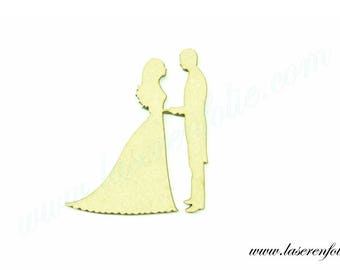 Couple of newlyweds face and hand in hand, made in medium, size 5cm
