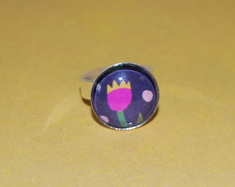 Adjustable ring pink and yellow Tulip