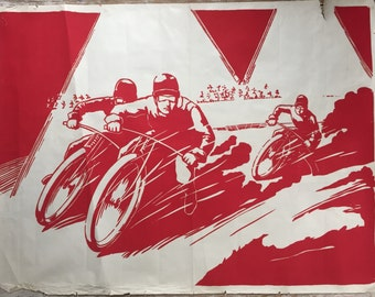 A very rare vintage Art Deco period motorcycle speedway poster