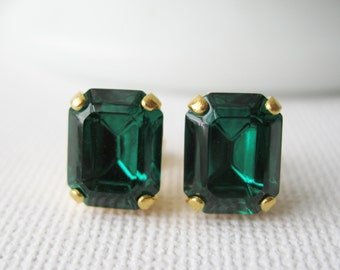 Emerald Green Stud Earrings, Bridesmaid Earrings, Vintage Swarovski Crystals, Christmas Jewellery, Your choice of Settings.