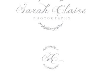 Premade Photography Logo - Hand Drawn Wreath + Matching Watermark