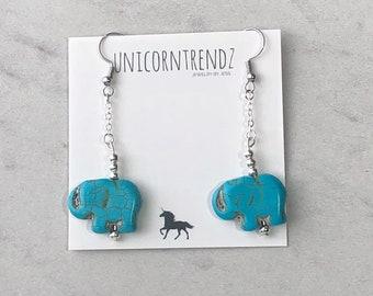 Elephant Earrings, Blue Dangle Earrings, Elephant Jewelry, Blue Animal Earrings, Lucky Earrings, Elephant Gift, Blue Elephant Earrings