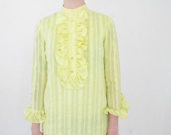 1960s Yellow Ruffled Tux Mini Dress | Vintage 60s Striped Tuxedo Party Dress | Striped Mock Neck Mini | XS Small S