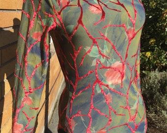 1990s Velvet Burnout Bodysuit with snaps/Funnel Neck/Long Sleeves.