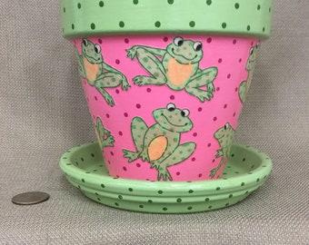 Flower Pot, Frog flower pot, terracotta planter,