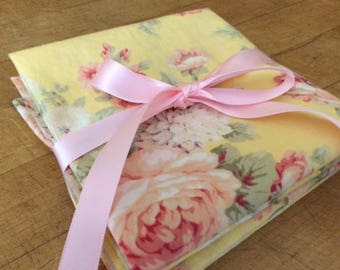 Pretty Yellow / Pink Rose Cloth Napkins, Set of 4, Weddings, Bridal Shower, Baby Shower, Thank You Gift, by Chow with ME