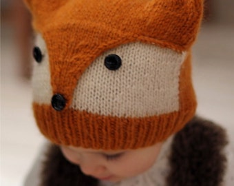 """Knitting Pattern FOXY & WOLFIE"""" (Toddler, Child, Adult sizes) - English and French"""
