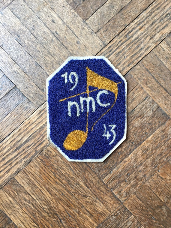 1943 Vintage Patch, NMC Letterman Jacket Patch, Marching Band Vintage Chain Stitch Patch, Music Gifts, Music Notes