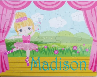 """Ballerina Personalized Puzzle 25 pc. Custom , 11""""x14""""  Bright colors, pink dancer, tutu, toe shoes, stage, dancing recital gift"""