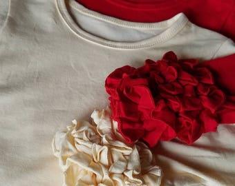 Little Girls Cotton Cream Top Ivory Ruffle Sleeve Shirt Long Sleeve Layering Shirt Cream Layering Top Girl Ruffle Top Tee Boutique Clothing
