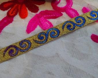 Indian trim by 3.5 yard sari border metallic trim Jacquard  Trim embellishments sari trim Metallic Base Blue  Sari Border Lace JRT146